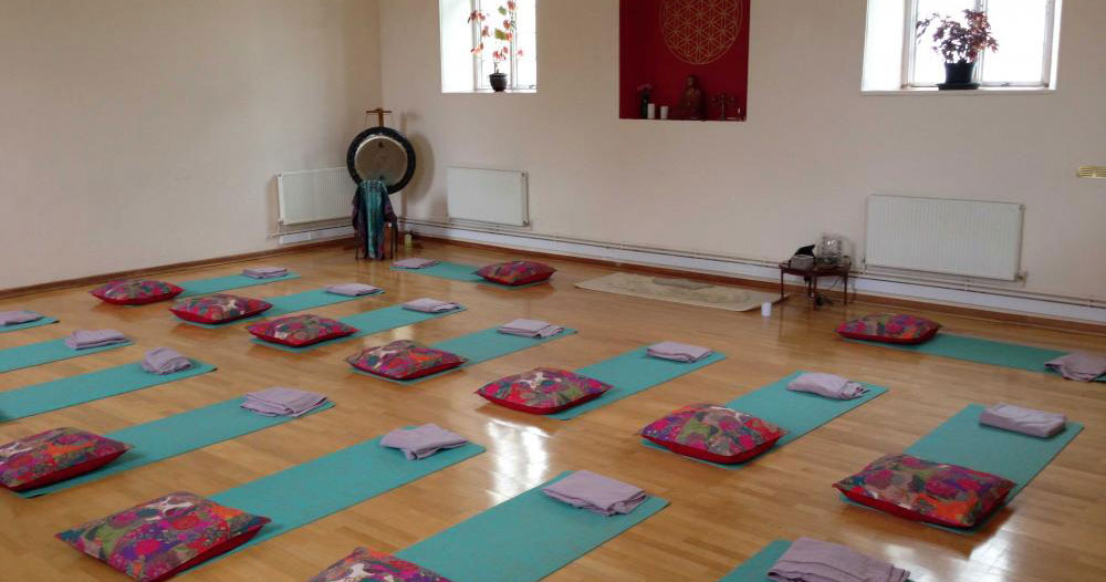 Yoga mats laid out for class in The Zen Hall at Inner Space Yoga Studio in Cornwall.