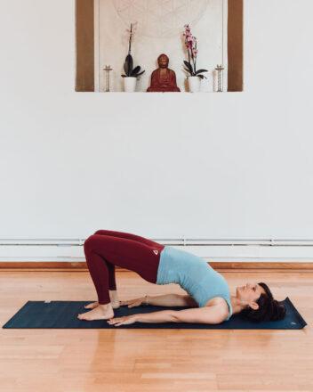 Women in yoga pose in the Inner Space yoga studio in Cornwall